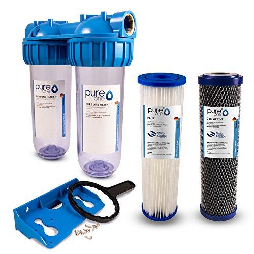 PureOne SA2 SediActive-Set. 2-Stufige Filteranlage 10 Zoll. Sediment, Chlor, Schadstoffe und Geschmack. Filtergehäuse mit Membran- und Kokos-Aktivkohle Filterkartusche. Hauswasser, Zisterne 1 Zoll