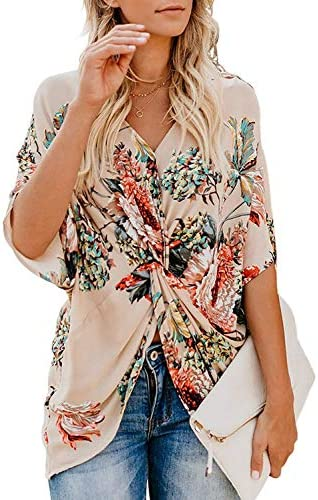 Sousuoty Womens Floral Print Tops Draped Batwing T Shirts Front Knot Apricot XL product image