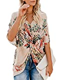 Sousuoty Floral T Shirts for Women Graphic Spring Blouses for Women 2019 Apricot M