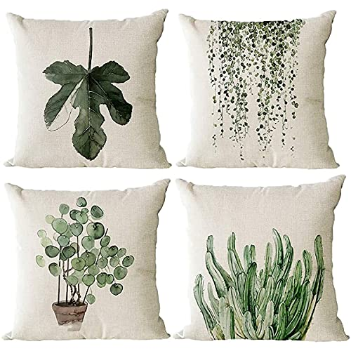 Monkeysell Decorative Throw Pillow Covers, 4 Pack of Green Plant Pattern Cotton Linen Throw Pillow Case Cushion Cover Home Décor Sofa Decorative Pillow 18 X 18 Inch (Green Plant)