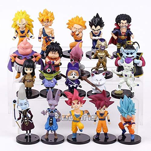 Lote de 20 Figuras de Dragon Ball DBZ DBS DB GT PVC Personajes de Goku Gotenks Satan Beerus Pilaf Whiss Majin Boo Vegeta Freezer Gohan Puar Kaito 5-9 cm Aprox tamano Figuras