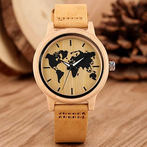 YJRIC Holzuhren Einfache Kunst Tinte Ahorn Weltkarte Muster Zifferblatt Uhr Damen Holzuhr Lederband Lässige Quarz Holz Armbanduhren Damenuhr