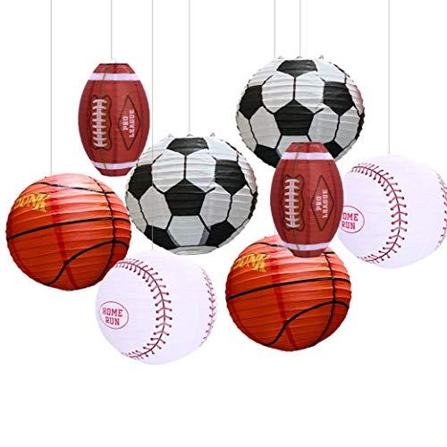 UNIQOOO 8Pcs Sports Paper Lanterns Party Decoration Set, Soccer Ball American Football, Baseball Basketball Japanese Hanging Lanterns, Reusable Durable Game Day Kids Birthday Decor