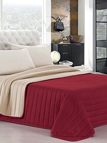 Italian Bed Linen Elegant Trapuntino matrimoniale 2 Posti, Bordeaux/Panna, 260 x 270 cm