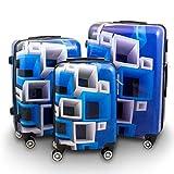 BERWIN® Design Koffer Reisekoffer Trolley Hartschalenkoffer Polycarbonat mit 4 Rollen als Set (Blue & White, 3er Set (M/L/XL))