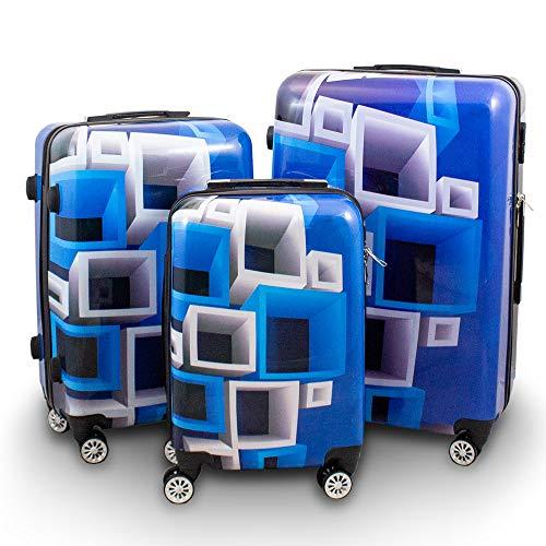 BERWIN® Design Koffer Reisekoffer Trolley Hartschalenkoffer Polycarbonat mit 4 Rollen als Set und Einzeln (Blue & White, 3er Set (M/L/XL))