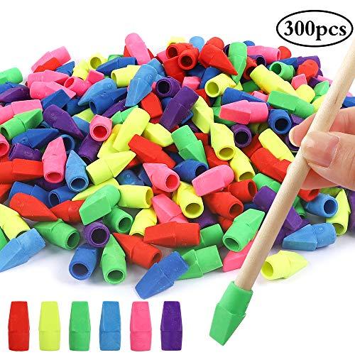 Habbi 300pcs Pencil Top Erasers, Cap Erasers, Assorted Colors Pencil Eraser Toppers, Pencil Erasers for Kids, School Supplies for Classroom and Teachers