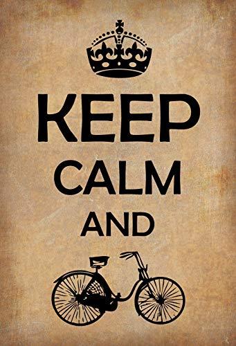 FS Spruch Keep Calm and Fahrrad Blechschild Schild gewölbt Metal Sign 20 x 30 cm