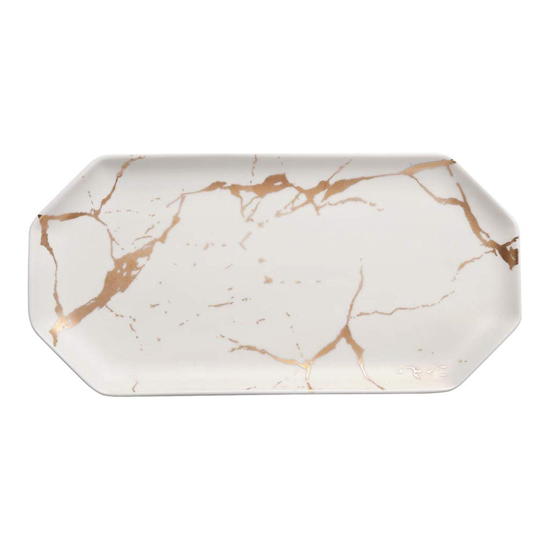 LXX-プレート 北欧スタイルの大理石の質感長方形セラミックプレート不規則な洋食寿司プレートホームトレイ朝食プレート (Color : 白, サイズ : 24x11.8x2cm)