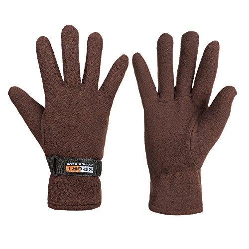 GLOUE Winter Gloves Winter Keep Warm Soft Fleece Lined Gloves Multiple Color for Men & Women (Brown)