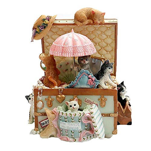 YYJIAJU Cat Music Box Cute Resin Kitty Musical Box Regalo de cumpleaños Creativo romántico for Novia Niños en Navidad/Cumpleaños/Día de San Valentín Castle in The Sky