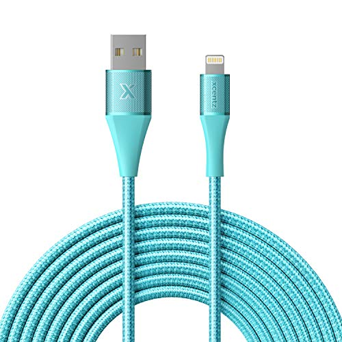 Xcentz iPhone Charger 10ft, MFi Certified Lightning Cable, Braided Nylon High-Speed iPhone Cable with Premium Metal Connector for iPhone 11/X/XS/XR/XS Max/8/7/6/5S/SE, iPad Pro/Mini/Air, Blue
