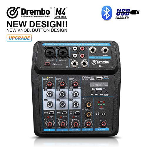 M4 Mini 4 Channel Mixer Audio DJ Console with Sound Card, USB, 48V Phantom Power for PC Recording Singing Webcast Party (M4)