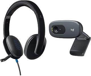 Logitech High-Performance USB Headset H540 for Windows and Mac, Skype Certified & C270 Desktop or Laptop Webcam, HD 720p W...