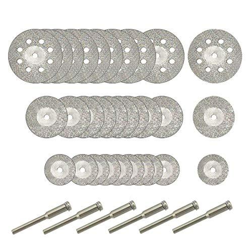 Gesh 30 piezas de ruedas de corte de diamante (25 mm/20 mm/16 mm cada 10), rueda de corte recubierta de diamante y 6 piezas de mandril de 3 mm para herramienta rotativa