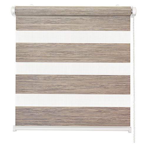 Doppelrollo Natural, Beige-Schwarz, 70x150cm - Duo-Rollo Klemm Fix mit Klemmträger, Fenster-Rollo/Seitenzug-Rollo ohne Bohren, lichtdurchlässig und verdunkelnd