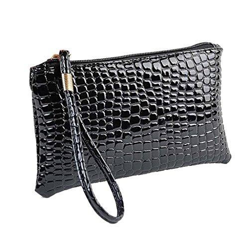 HDUFGJ Frauen Krokodil Leder Clutch Handtasche Tasche Geldbörse (Schwarz)