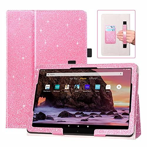 DMLuna Funda para tablet Fire HD 10 y Fire HD 10 Plus de 11ª generación 2021 solamente, funda de piel sintética con función atril y ranura para tarjetas, color rosa