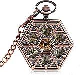 ZHANGYY Steampunk Snowflake Fashion Reloj de Bolsillo mecánico de Oro Rosa para Enfermera Forma Hexagonal Cadena de Cuerda Manual Navidad en Bolsillo y Fob Relojes de Relojes Reloj de bols