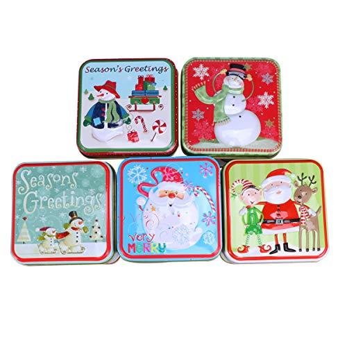 Artibetter 5 piezas latas de metal de navidad cajas de dulces navideñas cajas de regalo cuadradas para fiestas...