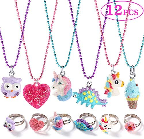 G C 12PCS Girls Necklaces and Rings Set with Sparkling Unicorn Owl Dinosaur Candy Heart Design product image