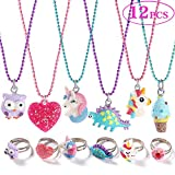 G.C 12PCS Girls Necklaces and Rings Set with Sparkling Unicorn Owl Dinosaur Candy Heart Design Colorful Gift Party Favors Friendship Pretend Dress up Play Jewelry for Kids child Toddler