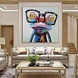 Pintura sin Marco con Gafas de Rana Abstracto Animal de Dibujos Animados Pintura al óleo sobre Lienzo decoración de la Pared Pop artCGQ8335 20X20cm