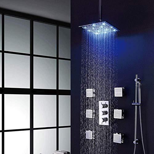 Juego de ducha empotrable, alcachofa de ducha termostática empotrable, 4 funciones, alcachofa de mano + desviador de latón cromado para pared empotrable, juego de ducha de cobre