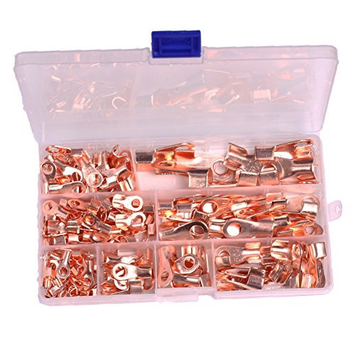 Icstation Open Barrel Wire Crimp Connector Copper Ring Battery Lug Terminals Assortment Kit OT 5A 10A 20A 30A 40A 50A 60A 100A (Pack of 185)