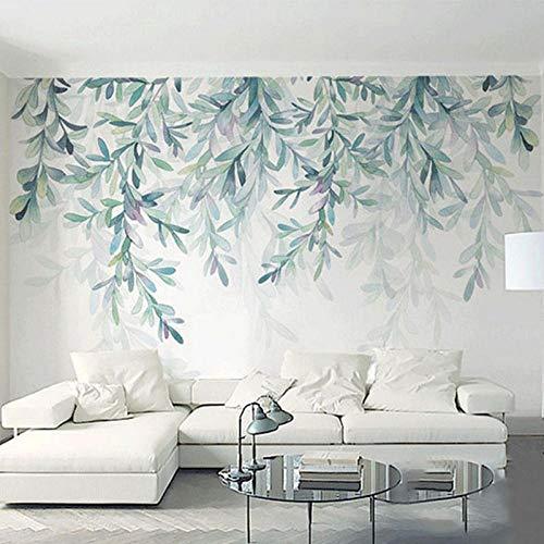 Fotobehang Modern Green Leaves aquarel, behang voor de woonkamer, tv, slaapkamer, 3D Fresko Wohnkultur 208 x 146 cm (6'8