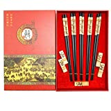 Mainiusi Juego de palillos chinos reutilizables con soporte para palillos de panda, madera natural, 5 pares, auténtica vajilla tradicional japonesa para principiantes con caja de regalo