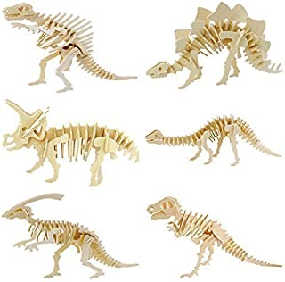 Lxnoap 6 piece set 3D Wooden Simulation Animal Dinosaur Assembly Puzzle Model Toy for Kids and Adults