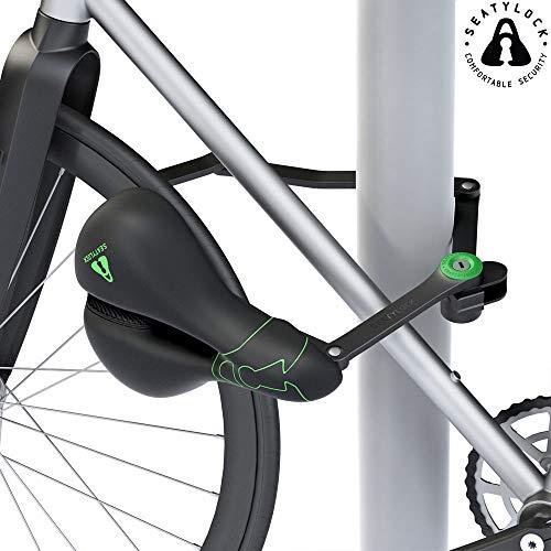 SEATYLOCK COMFORT Antirrobo Sillín y candado híbrido para tu bicicleta - Premium Drill Seguro Resistente - Máxima protección, Classic Black