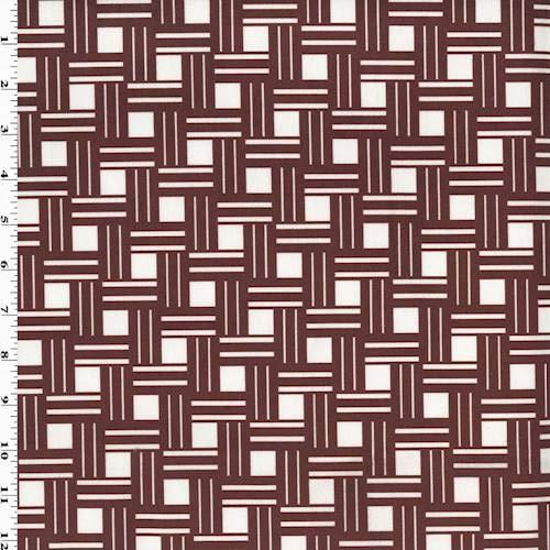 Burgundy Rimsquare Print Velveteen Performance Decor Fabric, Fabric by The Yard