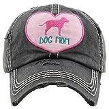 Distressed Baseball Cap Vintage Dad Hat - Dog Mom Heart (Black)
