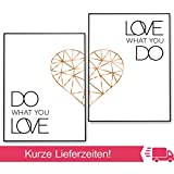 POSTER-SET mit Spruch DO WHAT YOU LOVE 40x50 mit Herz in