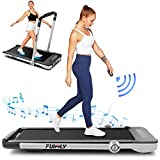 Treadmill,Under Desk Folding Treadmills for Home,2-in-1 Running, Walking&Jogging Portable Running Machine with Bluetooth Speaker & Remote Control,5 Modes & 12 Programs (Silver)