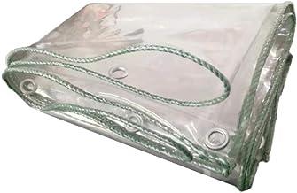 AOHMG transparant dekzeil, transparant, waterdicht, verdik zeil, regendoek met metalen oogjes en versterkte randen voor br...