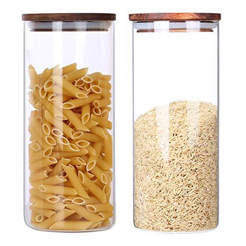 KKC Vorratsdosen Glas Luftdicht - Müsli Aufbewahrung Glas - Vorratsdosen Müsli Glas - Vorratsdosen für Kaffee-kaffeebohnen behälter-Glasbehälter mit Holzdeckel 1450ml im 2er Set
