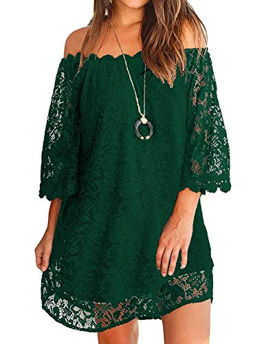 OURS Womens Elegant Lace Off The Shoulder Mini Dresses with Sleeves Green XL