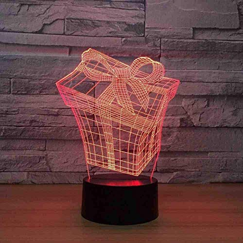 3D Vision Gift Box Modelling Tafellamp USB 7 Kleuren veranderen Led Sfeer Lamp Baby Slaap Nachtlampje Fixture Decor