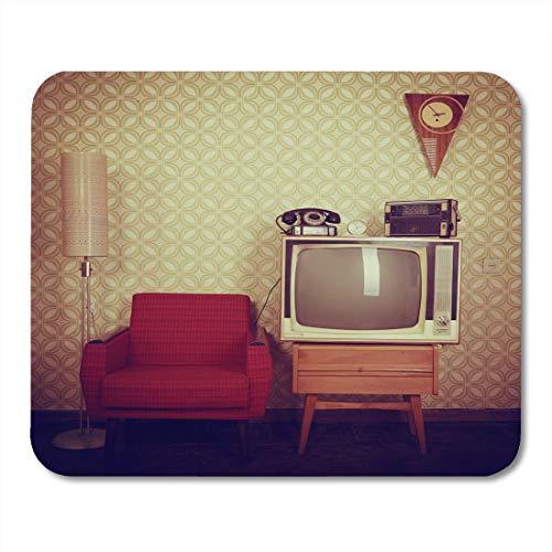 Mauspads Grünes Vintage-Zimmer mit altmodischem Sessel Retro-TV-Telefonuhren Radio-Player und Standart-Lampe Rotes Mauspad für Notebooks, Desktop-Computer-Matten Büromaterial