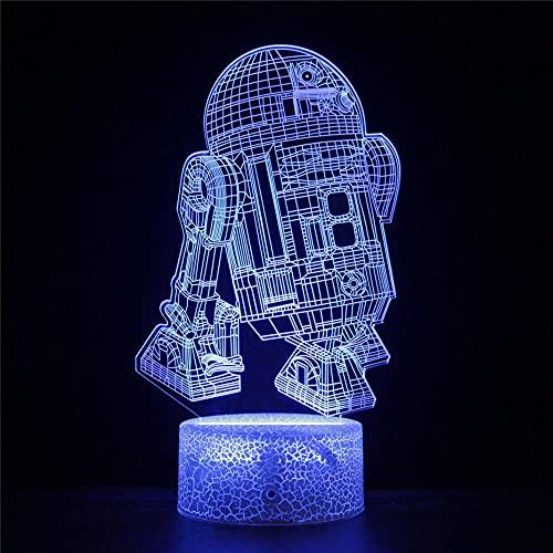 Lámpara de ilusión 3D Star Wars Regalo de Navidad Luz de Noche 16 Colores Regulable Control Táctil con Base Grieta+Remoto para Niños Niñas Niños Regalos