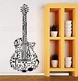 CHTHREEC Calcomanía de pared de vinilo guitarra música calcomanía de pared vinilo instrumento musical pegatina hogar arte mural calidad perfecta pegatina de guitarra 57cmx132cm