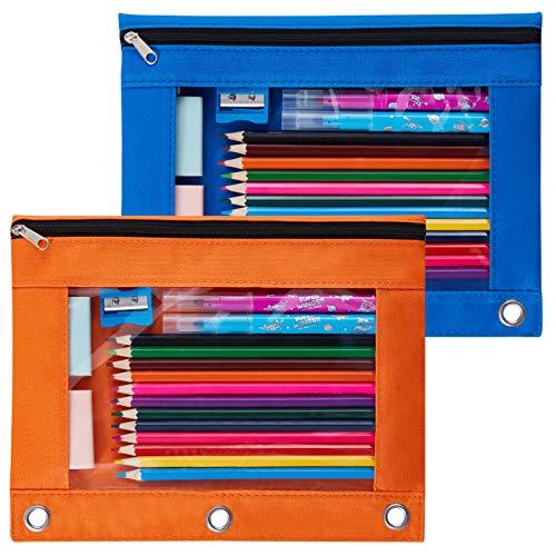Sooez Binder Pouch, 2 Pack Pencil Pouch 3 Ring Fabric Pencil Pouches Black Pencil Case Pencil Bags,Pencil Bags with Zipper, Zippered Pencil Pouch for 3 Ring Binder (Blue & Orange)