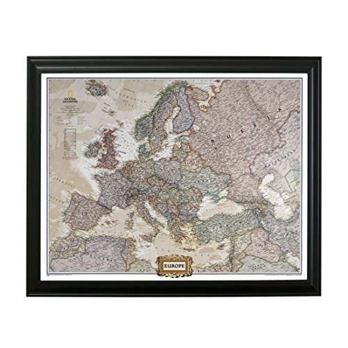 Push Pin Travel Maps Executive Europe with Black Frame and Pins