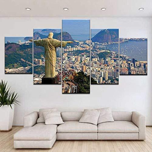 ZDDBD Cuadro de Arte de Pared Lienzo Impreso póster Brasil Río De Janeiro 5 Paneles decoración del hogar para Sala de Estar Cuadros Modernos Ilustraciones