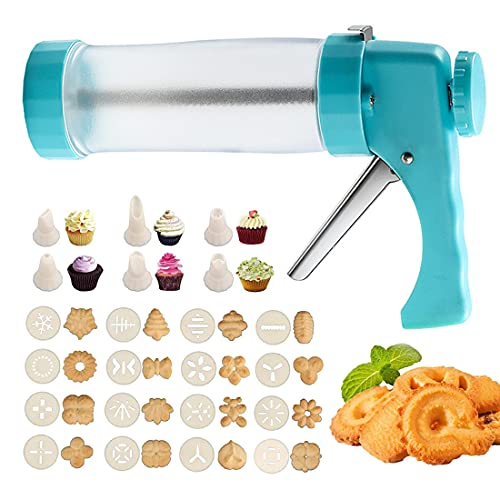 Cookie Press Gun Kit, 23 PCS Biscuit Maker Machine Set with 16 Cookie discs and 6 nozzles for DIY Baking Biscuit Maker, Churro Maker, Cakes and Decoration