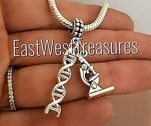 Science DNA Microscope Microbiology Charm with Bracelet Necklace Keychain Options