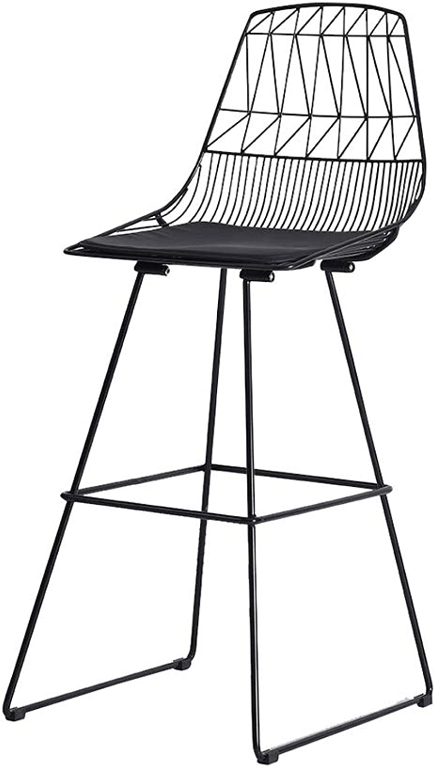 Bar Stool high Stool Wrought Iron PU Cushion Black, White   30 inches high Durable (color   Black)